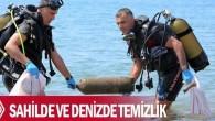 Antalya'da Deniz Temiz Derneği (TURMEPA), Emniyet Müdürlüğü Deniz Limanı Şubesi ile Sahil Güvenlik Personeli ve gönüllüler, Örnekköy Plajı'nda sahilde ve denizde temizlik yaptı. Akdeniz'e kıyısı olan ülkelerin ortak hareket kararı...